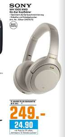 [Regional Saturn Düsseldorf] Sony WH-1000XM3 Bluetooth Noise Cancelling Kopfhörer Touch Sensor Silber für 249,-€