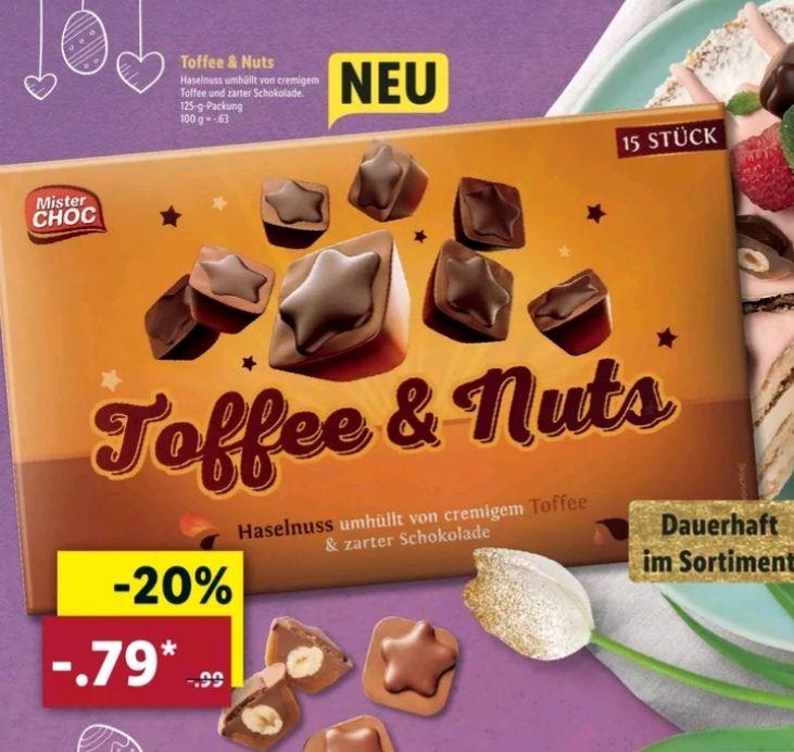-Toffee & Nuts (ähnlich wie Toffifee) 125g Packung für 0,79€ bei [Lidl ab 8. 04