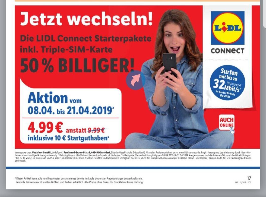 Lidl Connect Starterpaket ab Montag 08.04.19 Handy Prepaid inklusive 10€ Startguthaben D2 Vodafone