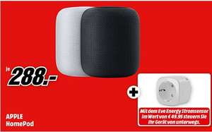 APPLE HomePod, Smart Speaker mit Sprachsteuerung, WLAN, Bluetooth + Elgato Eve Energy Funksteckdose für 288€ [Mediamarkt]