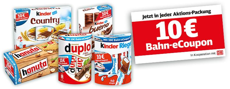 300 NEUE CODES NUR BIS MORGEN!!! KOSTENLOS 10€ Ferrero eCoupon Deutsche Bahn Gutschein Code gültig ab 29,90€ bis 17.04.19