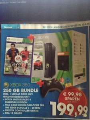 (LOKAL Österreich) Xbox 360 (250gb) +3 Spiele +1 Controller +1 M. Live Gold
