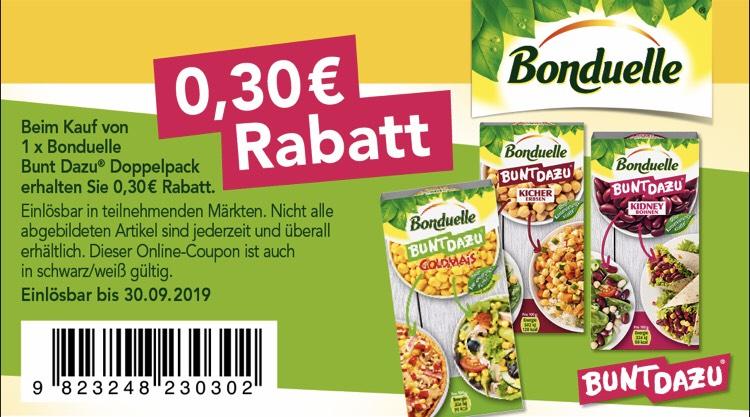 Bonduelle - 0,30 € Sofortrabatt beim Kauf von 1 x Doppelpack Bunt Dazu