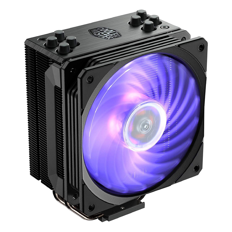 Coolermaster Hyper 212 RGB Black Edition CPU-Kühler (4 Heatpipes, 159mm, AM4/1151, 120mm Lüfter, 4-Pin PWM, 2000rpm, 30db(A), 97,30 m³/h)