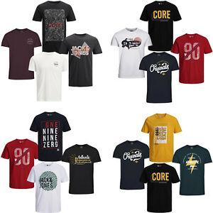 Jack Jones T-Shirt Herren . 4er Pack . O-Neck Tee Rundhals Marken Männer WOW