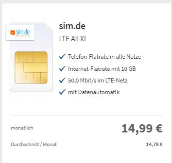Sim.de 10GB LTE (o2-Netz) mit Allnet-Flat-  monatlich kündbar - nur 14,99 Euro mtl. mit 20 € Cashback
