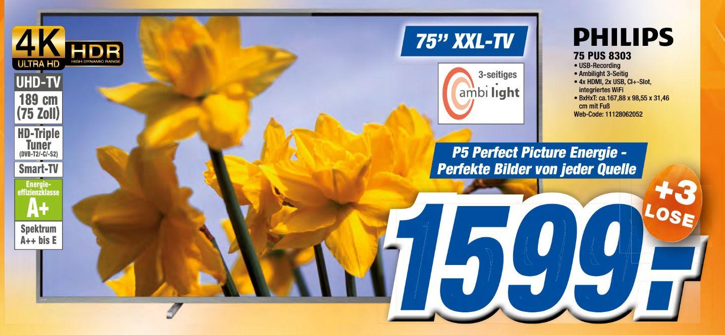 [Expert-Vermutlich alle Gruppen ab 10.04] PHILIPS 75PUS8303 LED TV (Flat, 75 Zoll, UHD 4K, SMART TV, Ambilight, Android TV) für 1599,-€