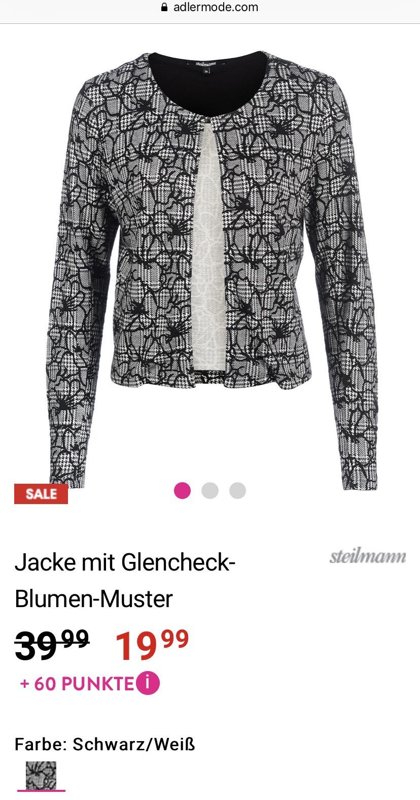 [Adler] Steilmann Jacke mit Glencheck-Blumen-Muster in großen Größen (42-48) schwarz/weiß für 23,94€ inkl. Versand
