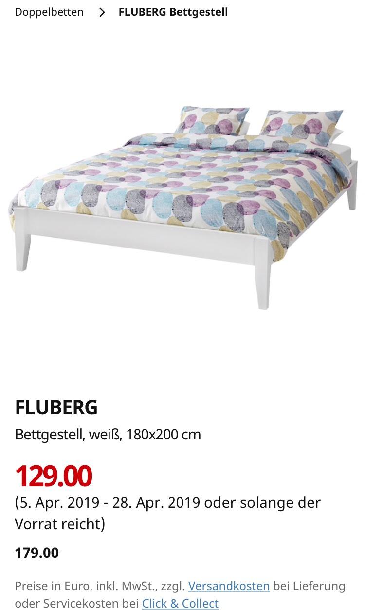 Ikea Fluberg Bettgestell in 140/160/180 online reduziert / Click&Collect möglich