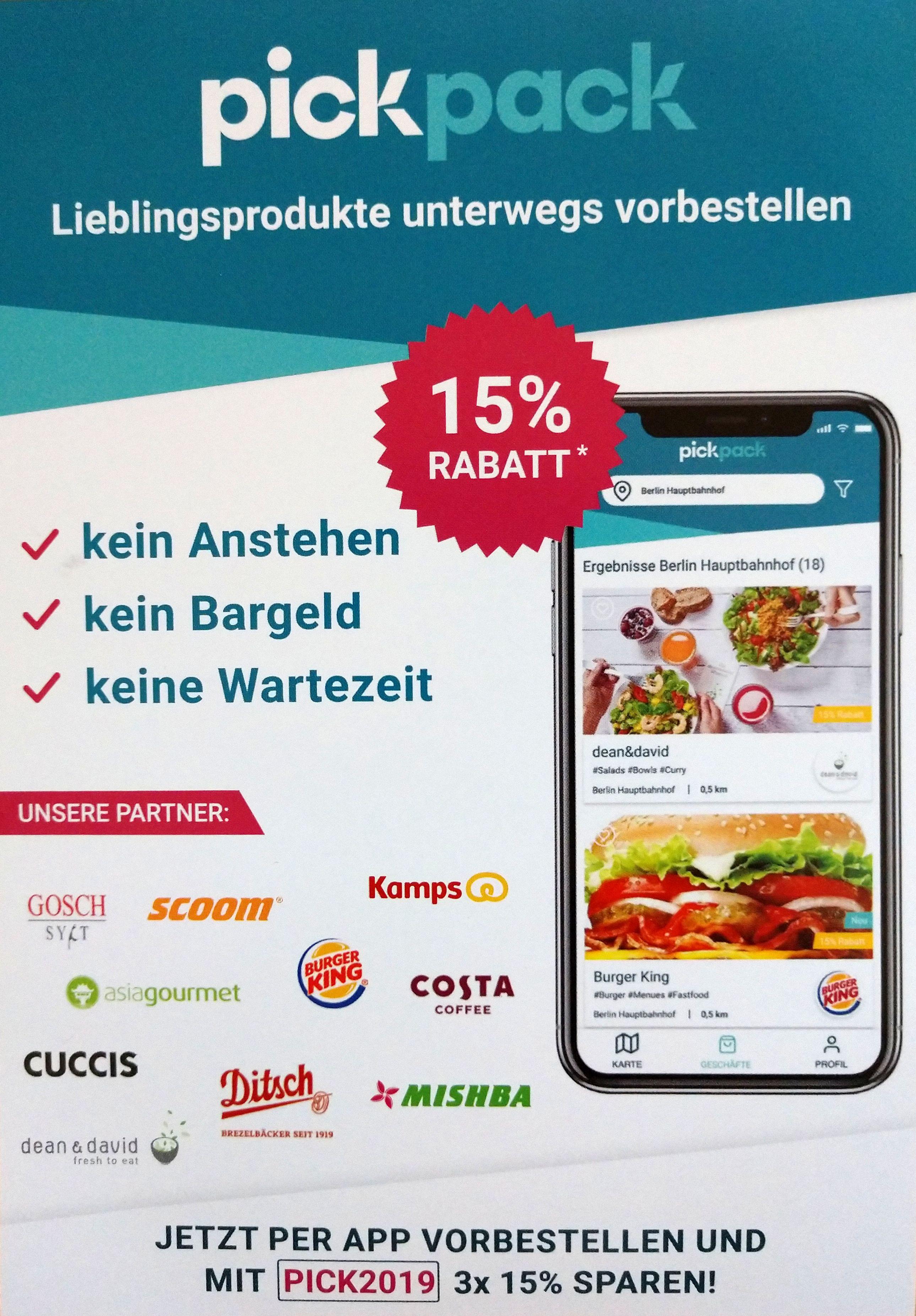 [Berlin] 3x 15% Rabatt auf Essens-Vorbestellungen über pickpack (Neukunden)