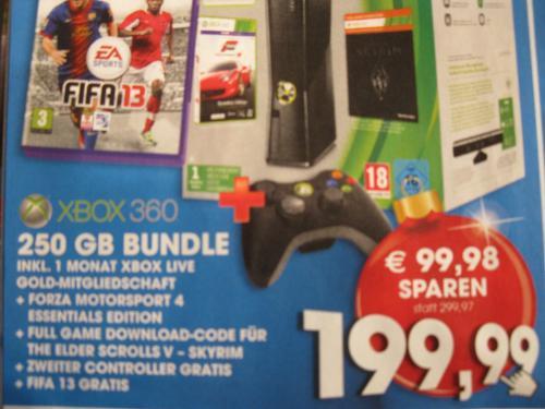 [Österreich] Microsoft Xbox 360 Slim, Forza 4 Bundle(Skyrim Download), 250GB + Zweiter Controller + Fifa 13