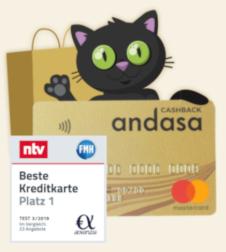 15€ Prämie: Gratis MasterCard Gold mit 0,25% Cashback auf den Kartenumsatz [AndasaCard Neukunden]