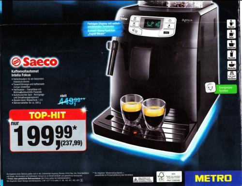 [METRO] Philips Saeco Intelia Fokus HD7851 Kaffeevollautomat ab 22.11.2012