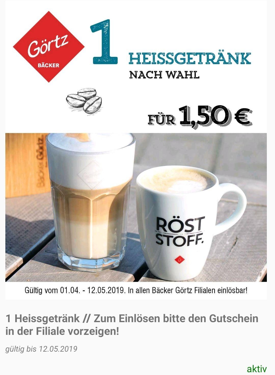 Bäckerei Görtz AppGutscheine: Kaffe/Tee nach Wahl 1,50€/2×Brot 4€/3×Kaffeestücke 3€/5xBrezel 2€/3×Muffin 3€/3×Kuchenstück 4,50€ (lokal)