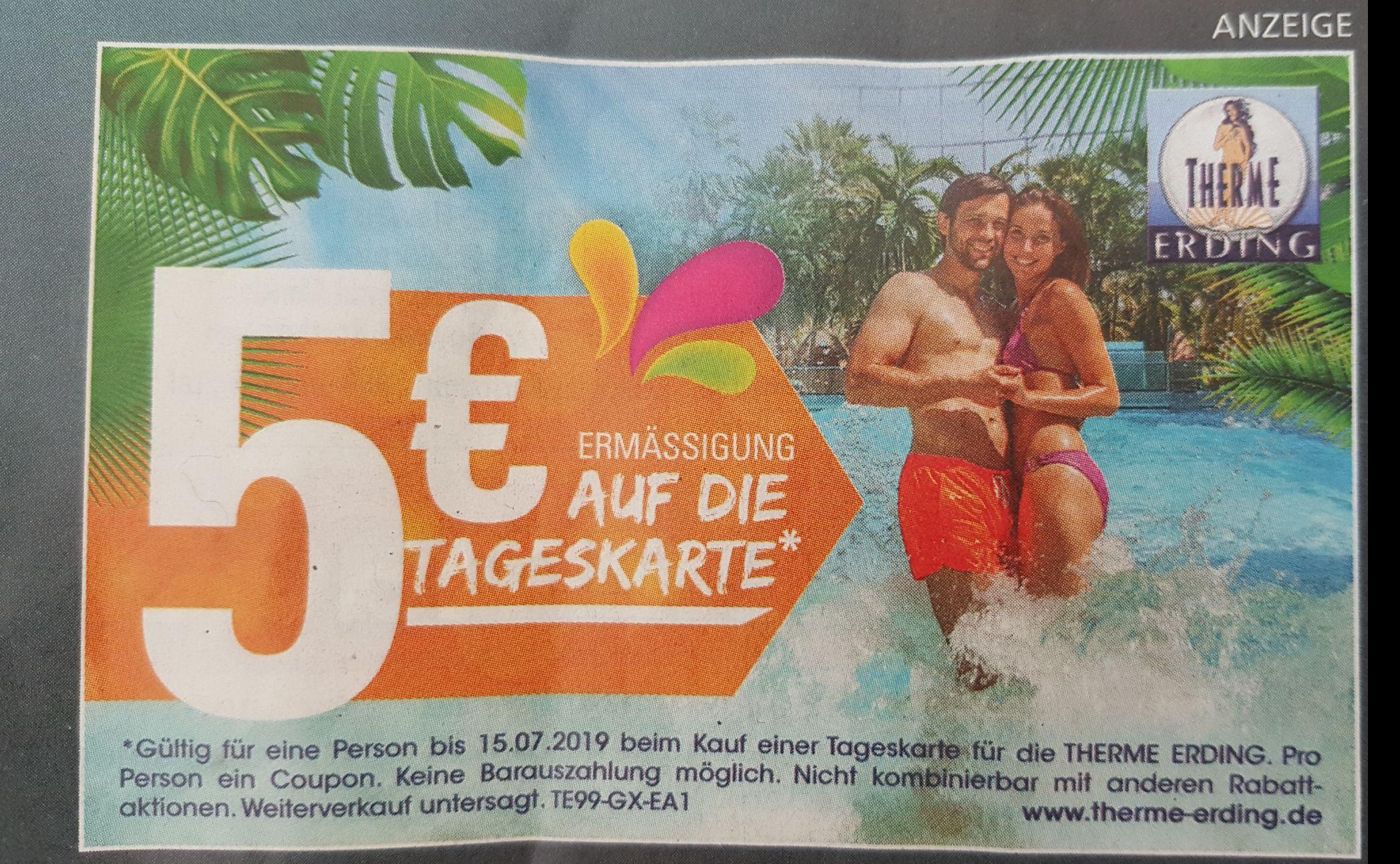 Therme Erding: 5€ Rabatt auf Tageskarten (ohne MBW, offline)