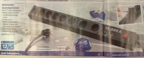 Aldi Süd ab 29.11.12 - Multimedia-Steckdosenleiste für 12,99 Euro