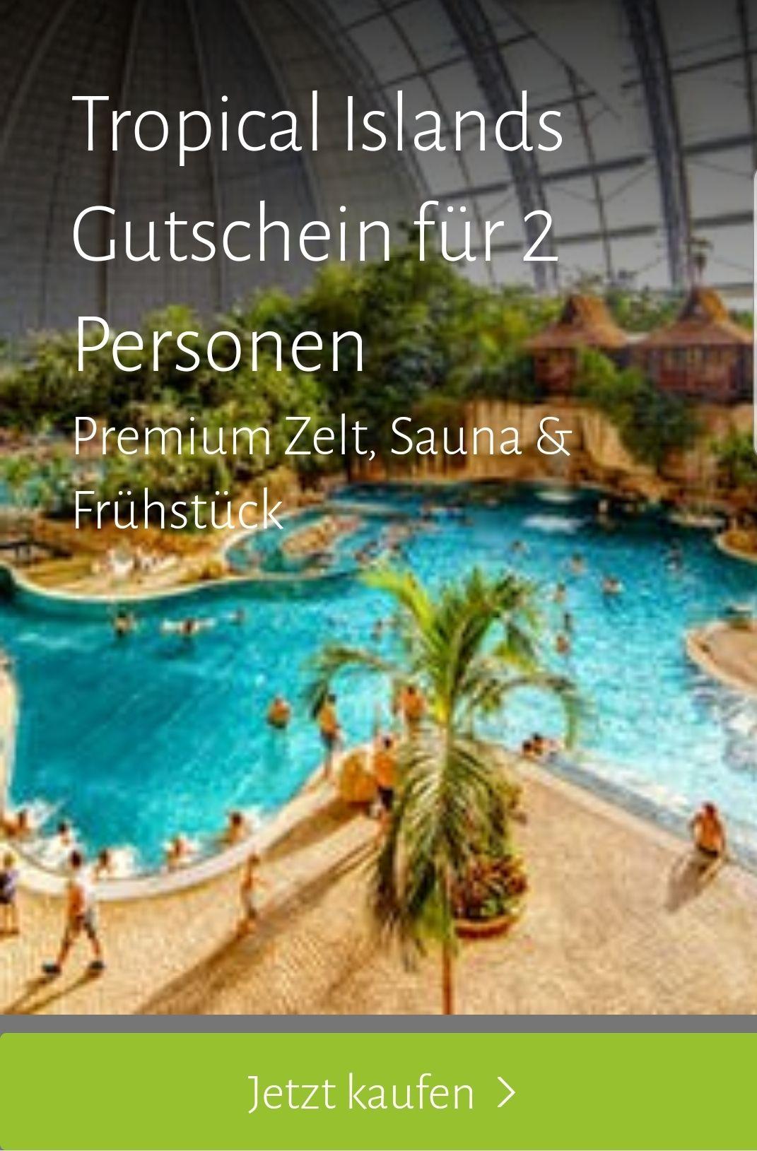 Tropical Islands Gutschein für eine Übernachtung mit 2 Personen im Premium Zelt für nur 108,- Euro