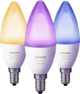 Philips Hue White und Color Ambiance E14 LED Kerze Dreierpack, dimmbar, bis zu 16 Millionen Farben, steuerbar via App für 88,26€ (Amazon)
