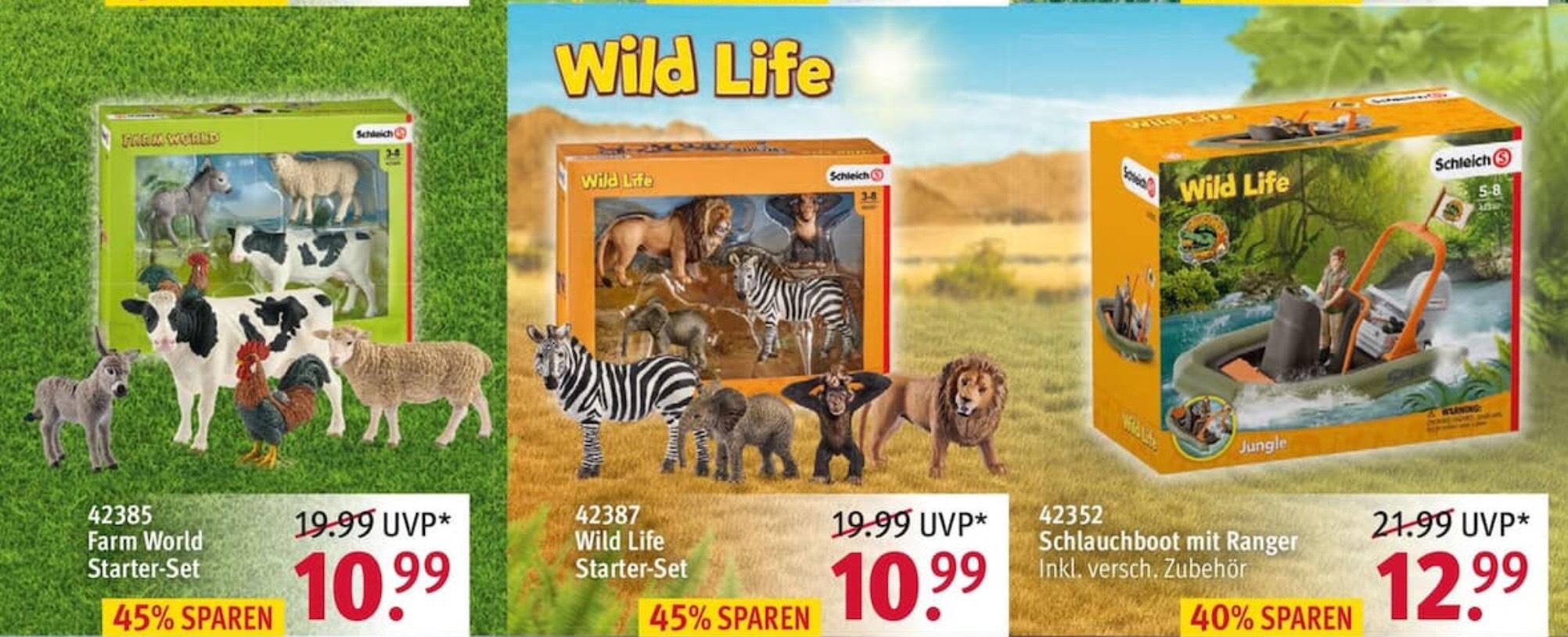 Bei Rossmann ab 08.04.19 Schleich Spielfiguren Tiere Starter Set Farm World und Wild Life für 10,99 mit 10% Coupon für 9,99€ Ideal zu Ostern