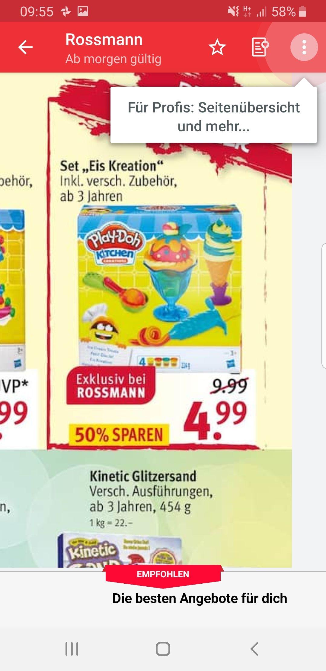 Rossmann ab Montag 08.04.19 Soft Knete Hasbro Play-Doh Eis Kreation für 4,99€ mit 10% Coupon aus der App für 4,50€