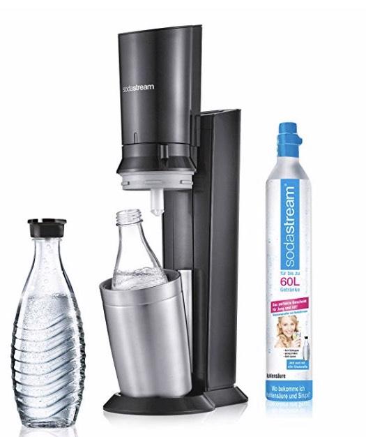 SodaStream Crystal 2.0 Wassersprudler inkl. 1 Zylinder, 2 Glaskaraffen 0, 6l Farbe: Titan [Tagesdeal Amazon]