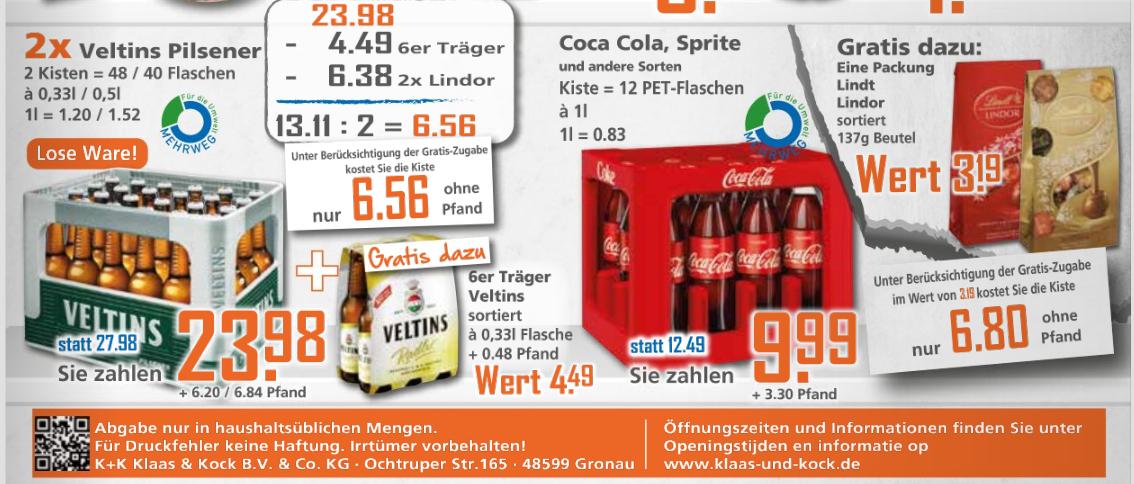 [K+K] Kiste Brinkhoff's No. 1 Pilsbier oder Coca Cola inkl. Lindt Lindor Gratiszugabe