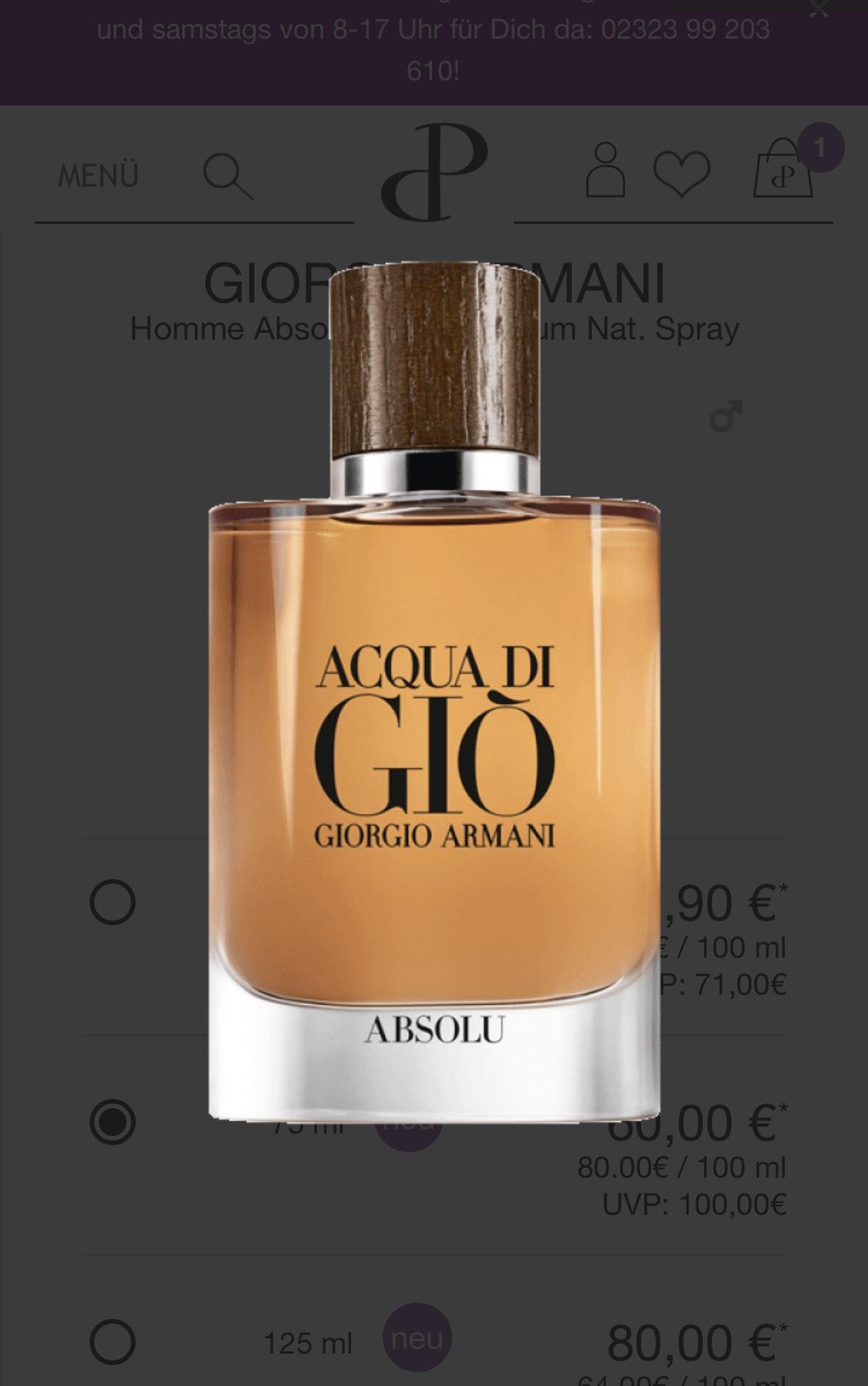 Parfum: Giorgio Armani - Aqua do Gio Absolu 75ml