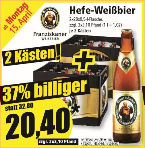 2 Kästen Franziskaner Hefe-Weißbier für 20,40 Euro  (10,20/Kasten) / Weihenstephan Frische Butter für 1,49 Euro [Norma, nicht bundesweit]
