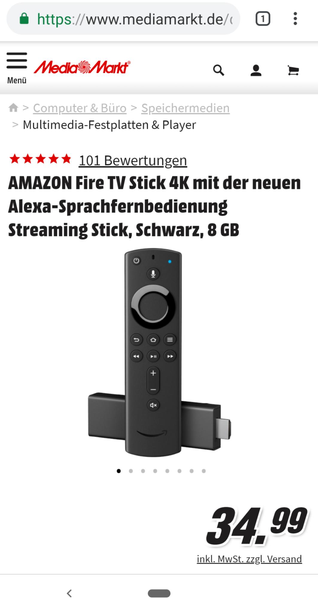Amazon Fire TV Stick 4K 34,99€ Media Markt