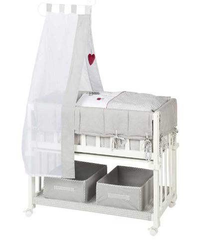 Roba Komplettstubenbett / Beistellbett 4in1 40x80 weiß&grau Adam & Eule (inkl Matratze, Himmelstange, höhenverstellbar, +4% Shoop Cashback)
