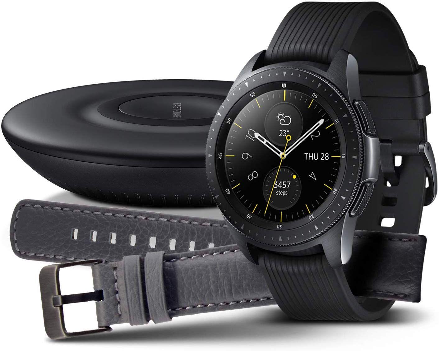 Samsung Galaxy Watch 42mm Bundle, schwarz + Charger und Lederarmband (46mm für 239 Euro)