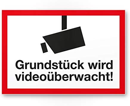 Alarmgesichert Videoüberwacht Kunststoff Schilder für Grundstücke mit Überwachungskamera ( Amazon Prime)