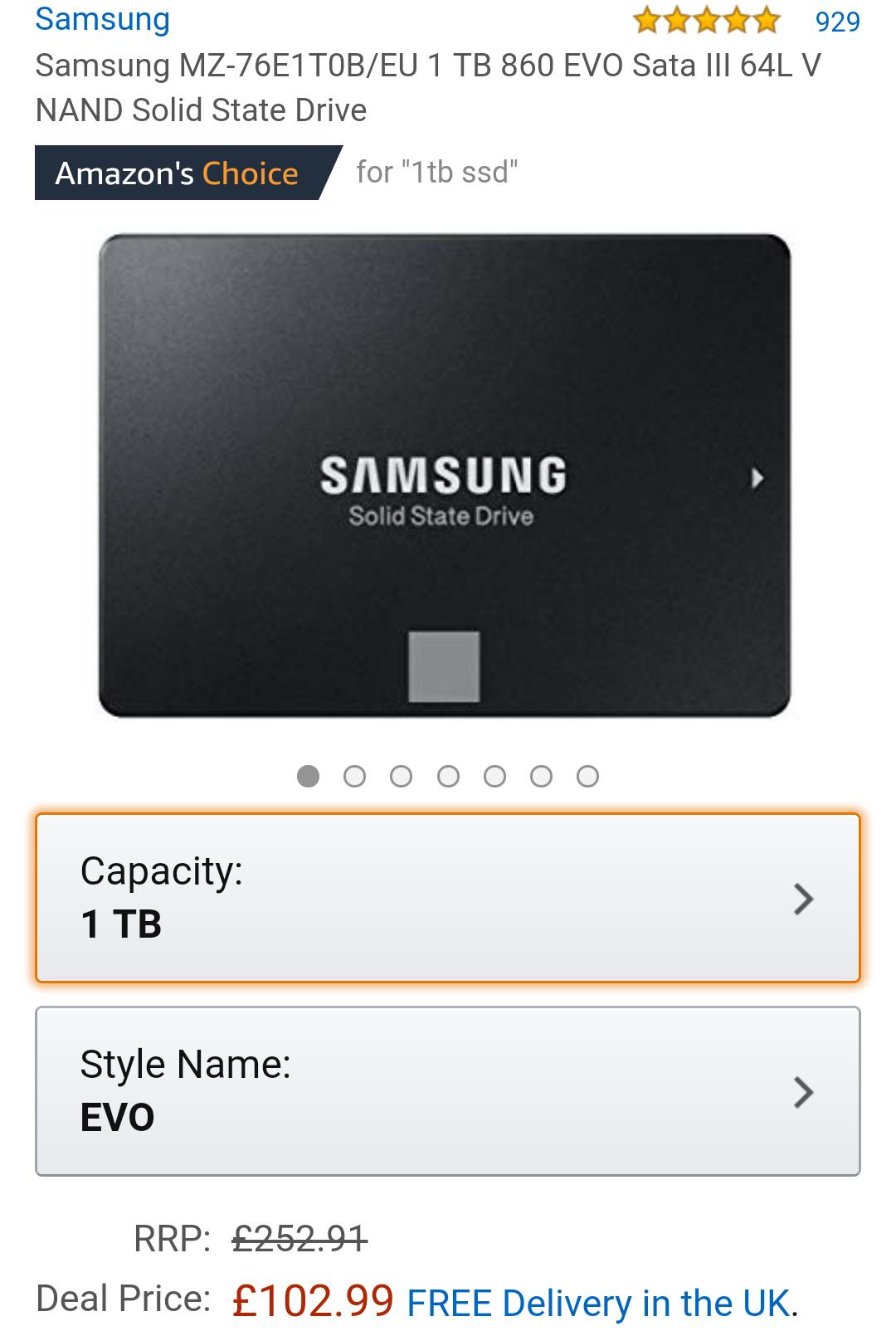 [Amazon UK] Samsung SSD 860 EVO 1TB für 122,85 oder 2TB für 240€