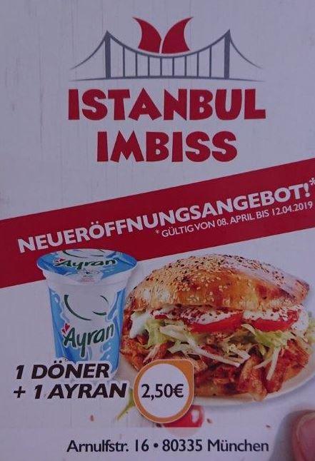 Lokal München - Neueröffnung Istanbul Imbiss: Döner + Ayran nur 2,50 Euro