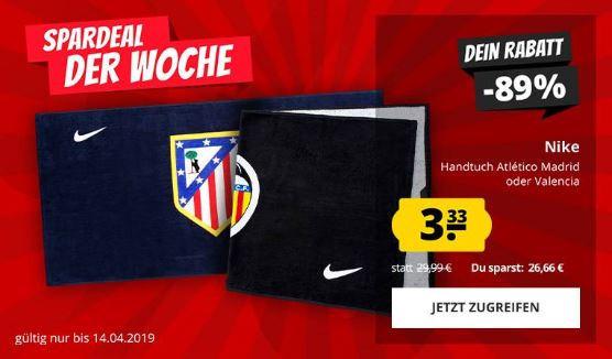 Atletico Madrid / FC Valencia Handtuch Nike 100x50cm für 3,33€ + VSK   100% Baumwolle   2 Handtücher für 10,61€ inkl VSK