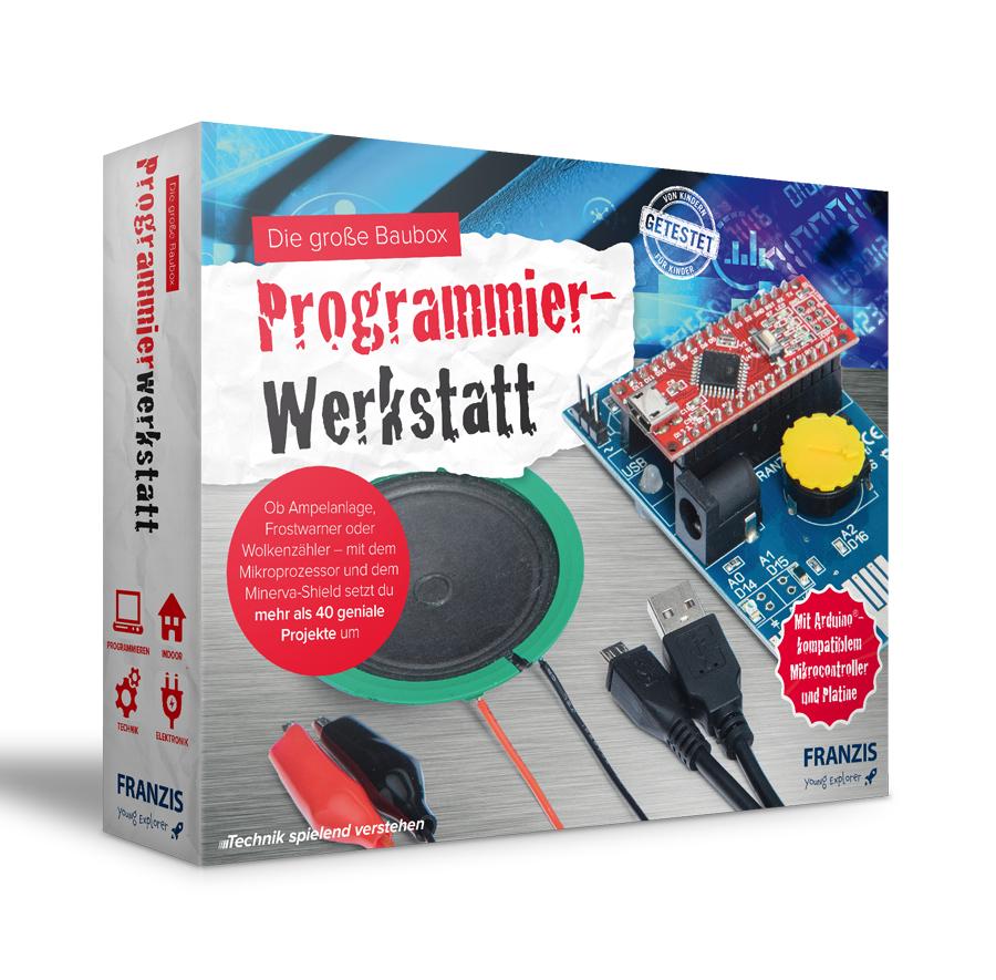 Franzis Programmierwerkstatt für Kinder (Arduino-kompatibler Mikrocontroller, Minerva-Shield, Lautsprecher, Begleitbuch, bis zu 40 Projekte)