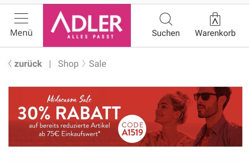 [Adler] Midseason Sale 30% Rabatt auf bereits reduzierte Artikel ab 75€ Einkaufswert (bis 14.04.)