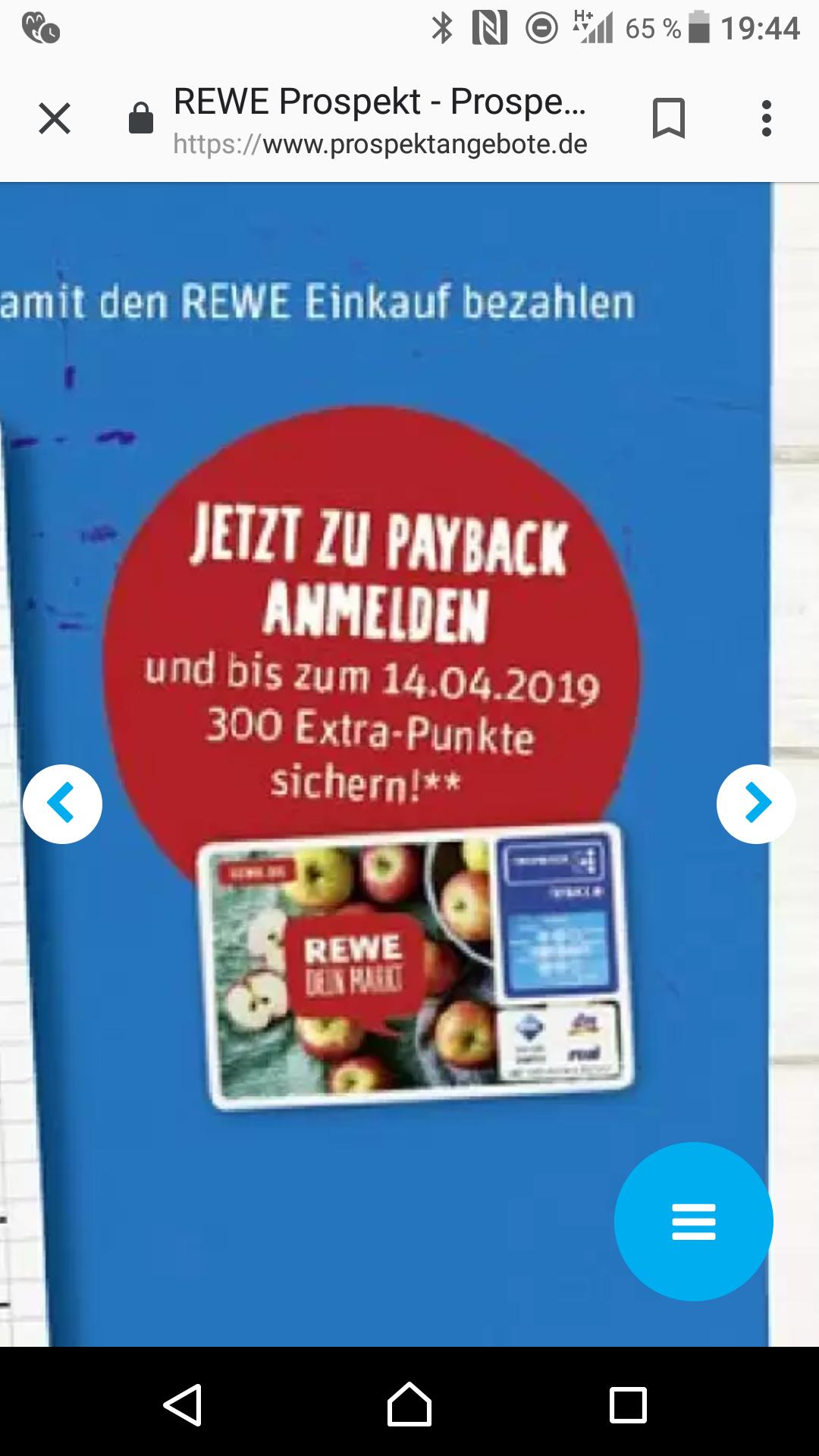 300 Punkte für Payback Anmeldung bei Rewe