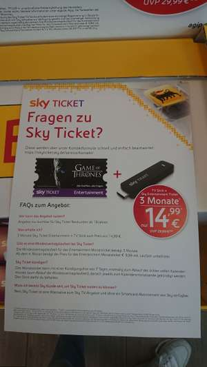 Sky Ticket Stick + 3 Monate Entertainment - Winter is coming.