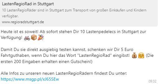 5 € Gutschein beim Call a Bike WhatsApp Newsletter
