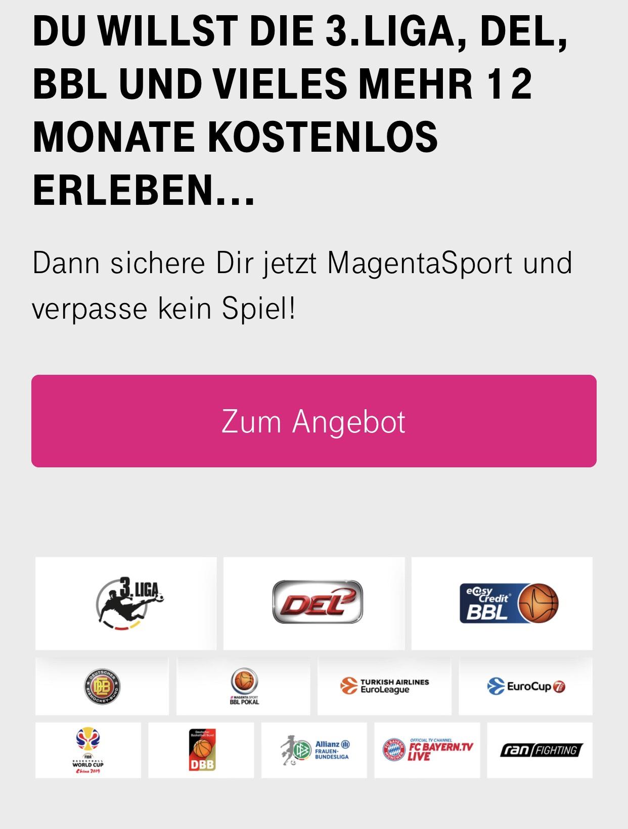 [Für Telekom Kunden] Telekom Sport (3. Liga, DEL, BBL, uvm.) 12 Monat kostenlos