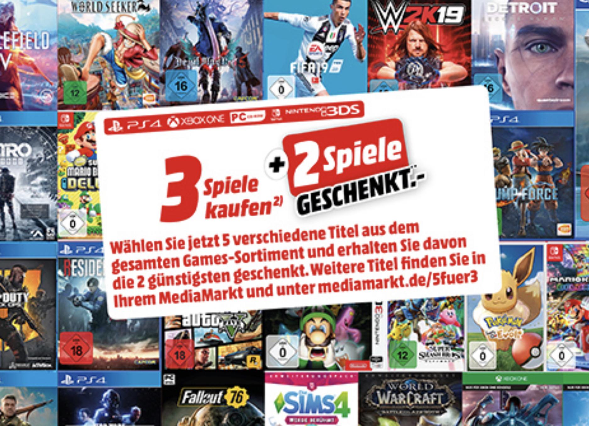 3 Spiele kaufen + 2 Spiele GESCHENKT aus dem gesamten Games-Sortiment! (Media Markt + Amazon)