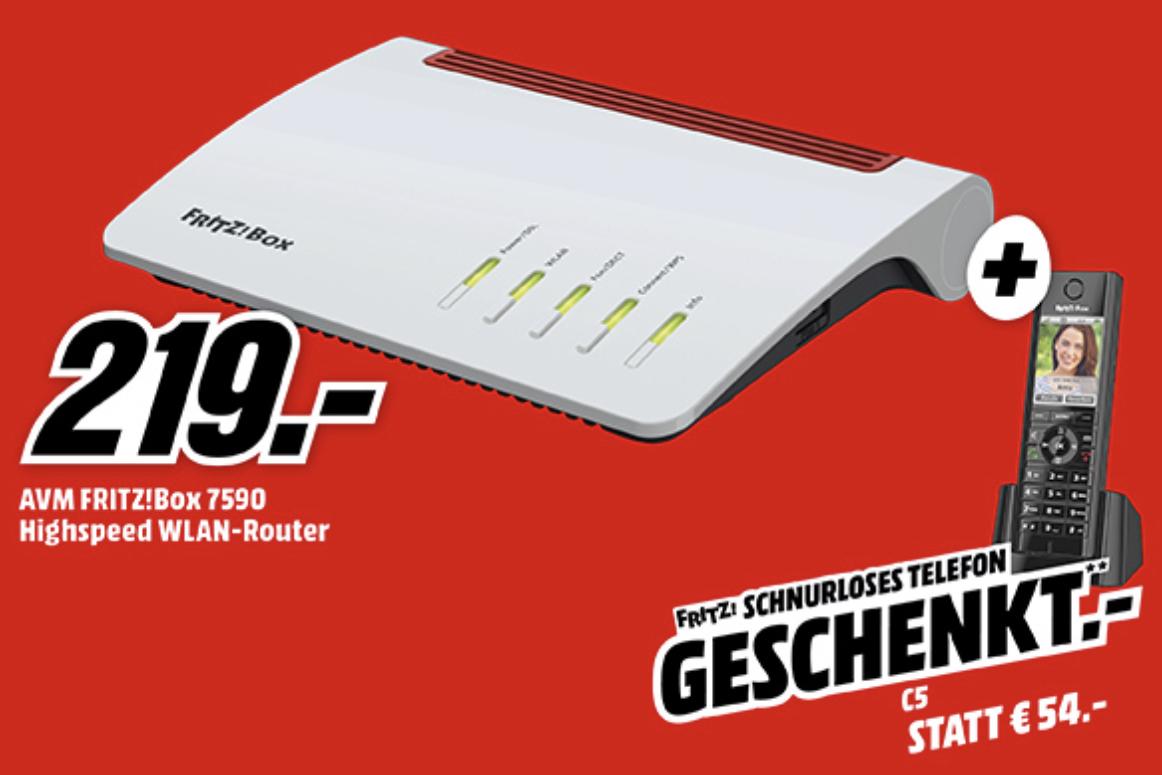 AVM Fritz Box 7590 oder Cable 6590 + AVM C5 DECT-Telefon für zusammen 219€ inkl. Versandkosten