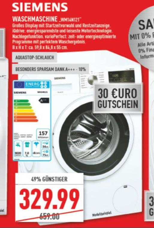 Siemens WM 14N121 Waschmaschine iQ300, A+++ , 7kg, 1400 U/Min mit 30€ Gutschein @Marktkauf Rhein-Ruhr