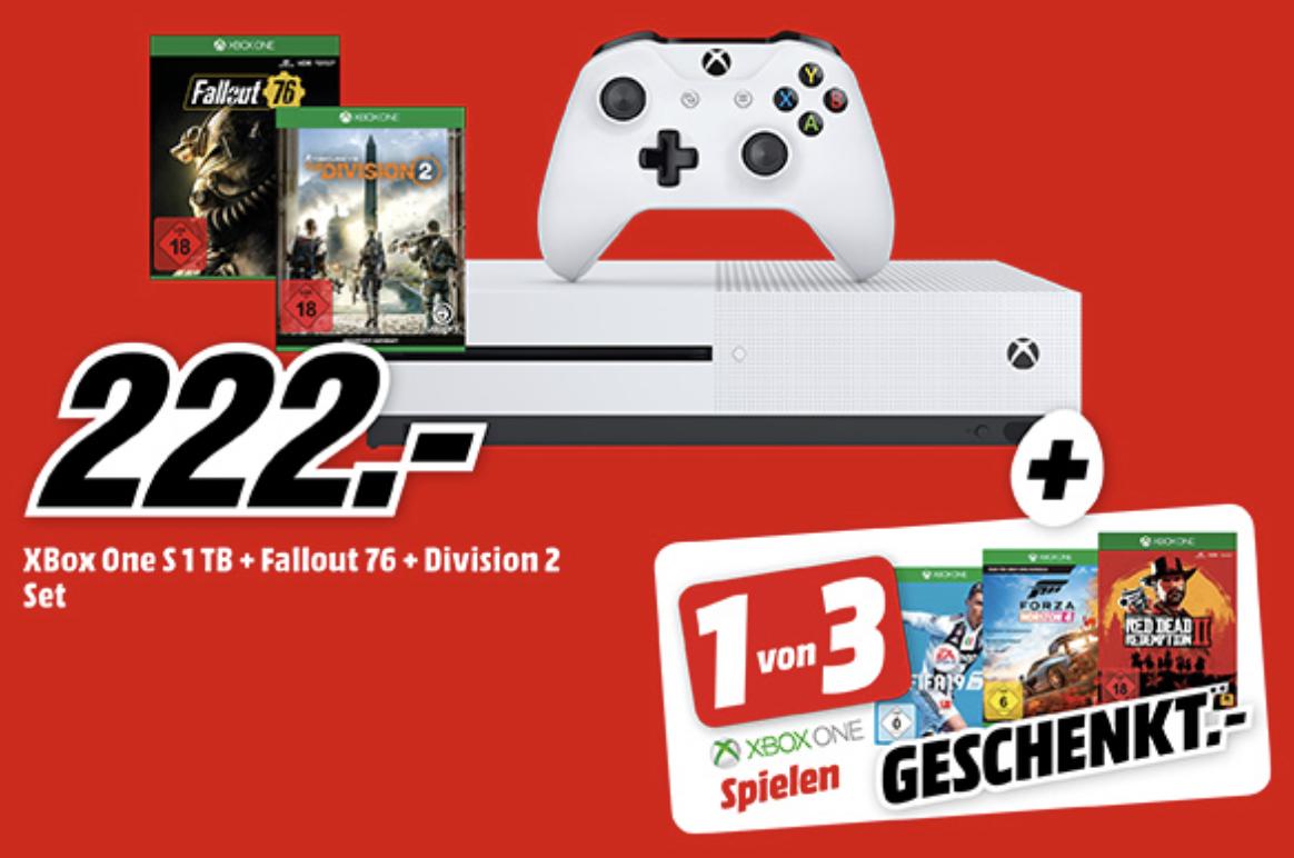Xbox One S 1TB + The Division 2 + Fallout76 + entweder Red Dead Redemption 2, FIFA19 o. Forza Horizon 4 für 222€ [MediaMarkt/Saturn]