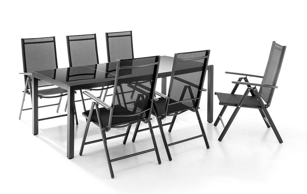 Sitzgruppe Aluminium 7-teilig (1x Tisch 190x90cm mit Glasplatte, 6x Klappstuhl) + 3% Shoop möglich