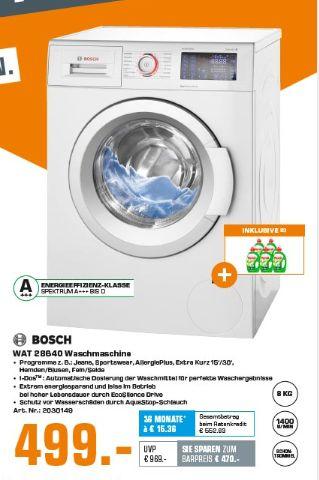 [Saturn] BOSCH Serie 6, WAT28640 Serie 6, 8.0 kg Waschmaschine, Frontlader, 1374 U/Min., [EEK: A+++] für 499,-€ bei Abholung
