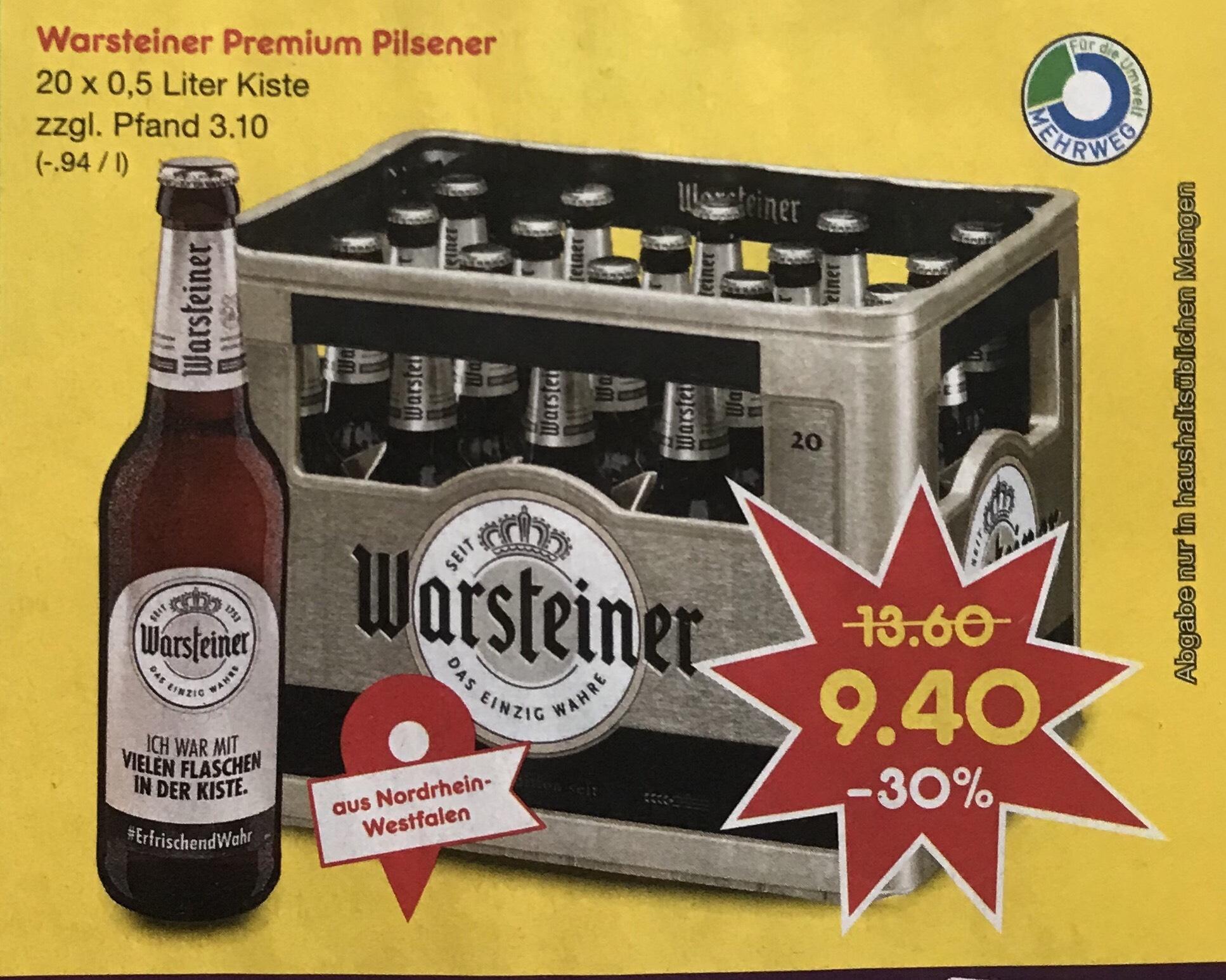[Lokal Düsseldorf] Warsteiner Premium Pilsener (20x 0,5 Liter Kiste)