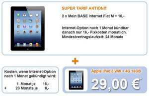 [Handybar] iPad 3 16GB Wifi + 4G für 16,-€ / Monat und 29,-€ Einmalzahlung, Gesamtkosten = 433,-€