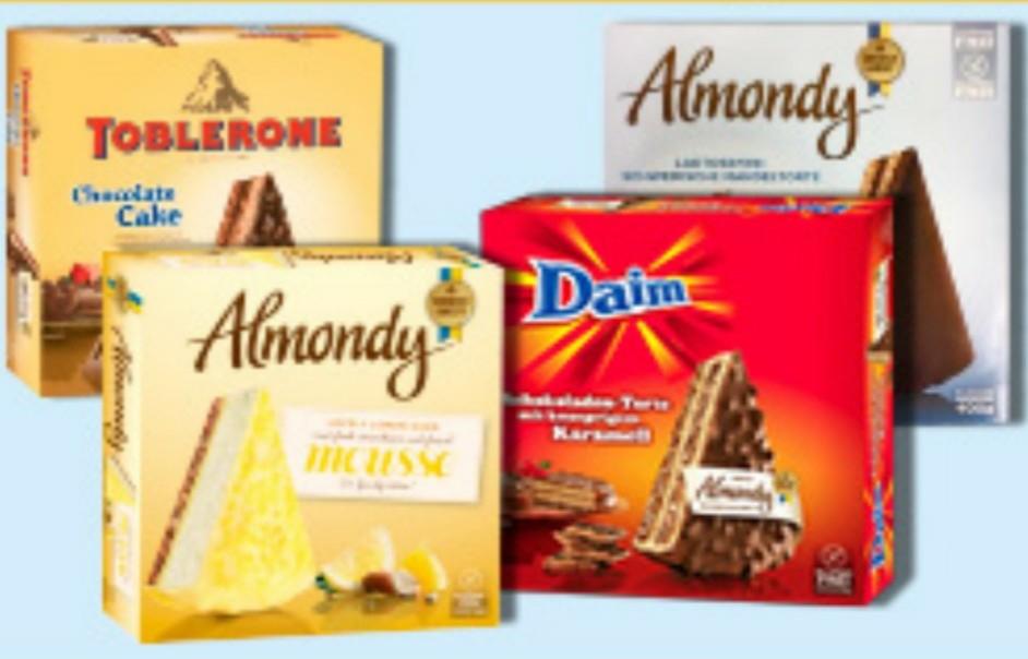 Almondy Toblerone, Daim, mousse & dunkle Schokolade (regional) +++ Almondy Daim & Mandel bei Kaufland für 3,59€